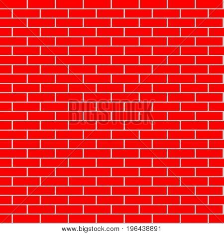 Cartoon seamless red flat brick wall texture. Vector illustration