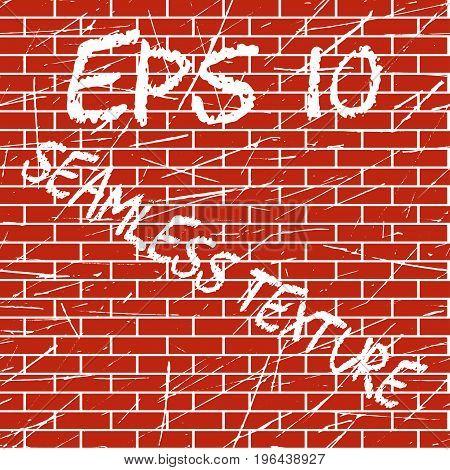 Vector Brick Wall grunge scratched seamless Texture