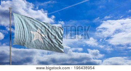 Somalia Waving Flag On Blue Sky. 3D Illustration