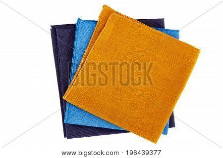 Three colorful napkins isolated on white background