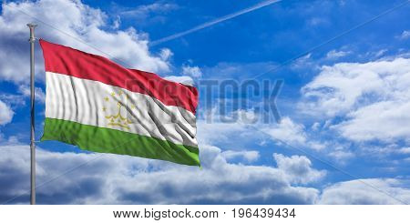 Tajikistan Waving Flag On Blue Sky. 3D Illustration