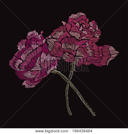 Elegant bouquet with rose flowers design element. Floral composition can be used for wedding baby shower mothers day valentines day cards invitations. Embroidery decorative flowers