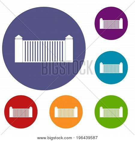Stone fence icons set in flat circle red, blue and green color for web