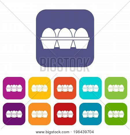 Eggs in carton package icons set vector illustration in flat style in colors red, blue, green, and other