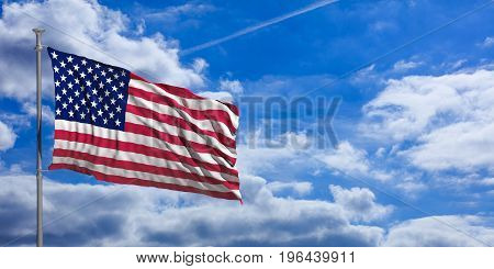 United States Of America Waving Flag On Blue Sky. 3D Illustration