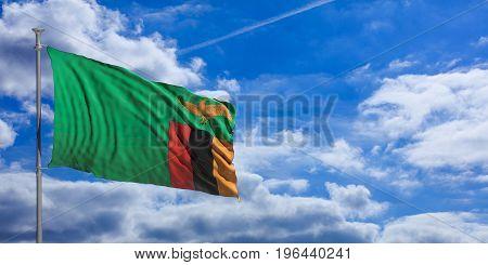 Zambia Waving Flag On Blue Sky. 3D Illustration