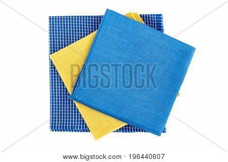 Three colorful textile napkins isolated on white