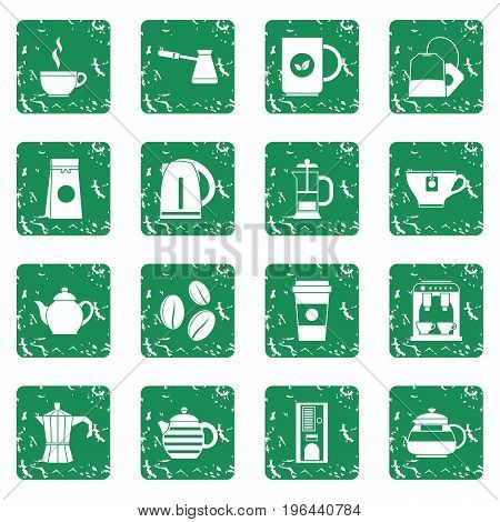 Tea icons set in grunge style green isolated vector illustration