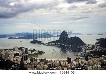 Sunrise view of mountain Sugar Loaf and Botafogo in Rio de Janeiro. Brazil