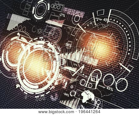Glowing digital business interface. Technology analytics and network concept. 3D Rendering