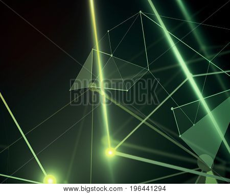 Abstract mesh wireframe connected point green polygonal background. Technology innovation and network concept. 3D Rendering