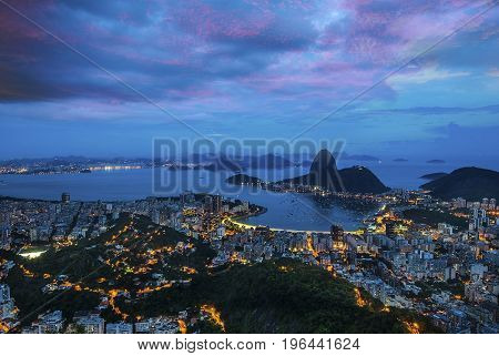 Night view of Sugar Loaf and Botafogo in Rio de Janeiro