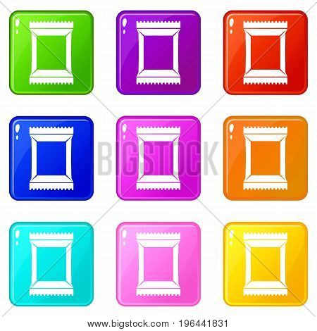 Napkins pack icons of 9 color set isolated vector illustration