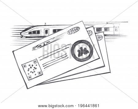 Three tickets for high-speed train. Graphic linear tonal drawing by slate pencil. Isolated on white background