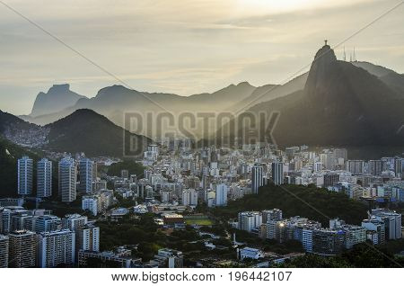 Aerial view of buildings on the beach front Botafogo Guanabara Bay Rio De Janeiro Brazil