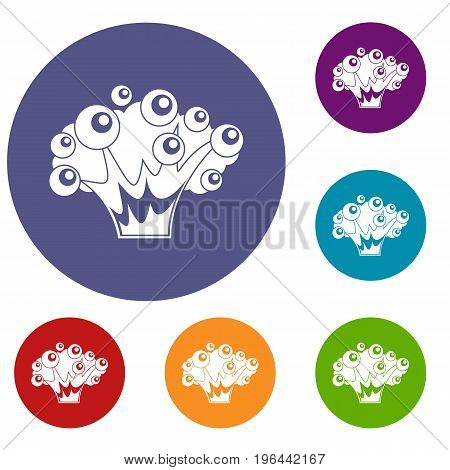 High power explosion icons set in flat circle red, blue and green color for web