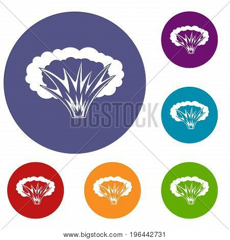 Atomical explosion icons set in flat circle red, blue and green color for web