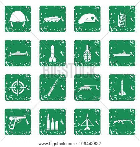 Military icons set in grunge style green isolated vector illustration