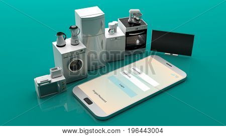 Home appliances on a smartphone on green background. 3d illustration