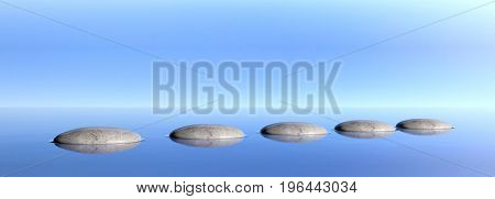 Zen pebbles on a blue sky and sea background. 3d illustration
