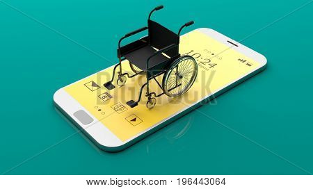 Wheelchair on a smartphone isolated on green background. 3d illustration