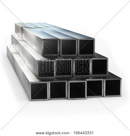 Stainless steel tube 3d rendering isolated. Cut view