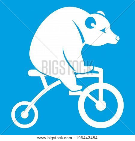 Bear on a bike icon white isolated on blue background vector illustration
