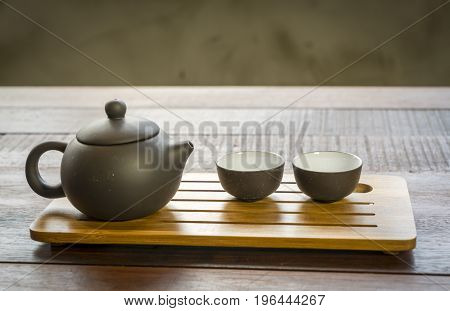 Chinese Tea Set On A Wooden Background