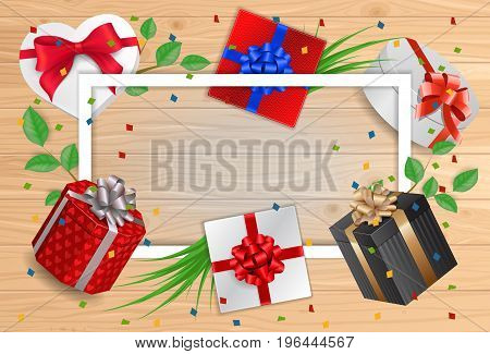 Blank greeting card with frame, gifts and ribbons on wooden planks. For greeting cards, posters, leaflets and brochures.