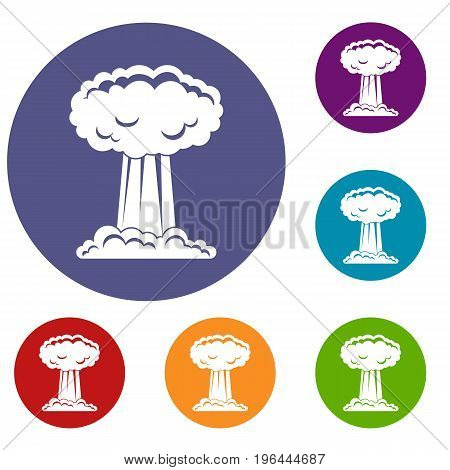 Mushroom cloud icons set in flat circle red, blue and green color for web