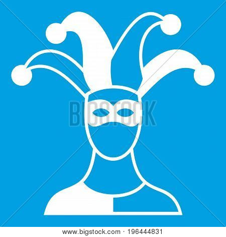 Jester icon white isolated on blue background vector illustration