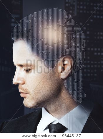 Digital labyrinth headed businessman on night city background. Confusion concept. Double exposure