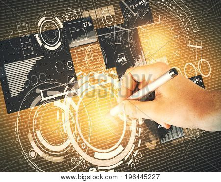 Hand drawing abstract glowing digital business interface. Technology analytics and communication concept. 3D Rendering