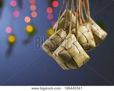 hanging ketupat with the flash light