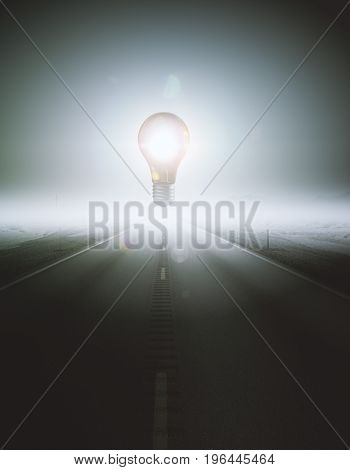 Abstract glowing levitating lamp in the middle of road. Enlightenment concept. 3D Rendering