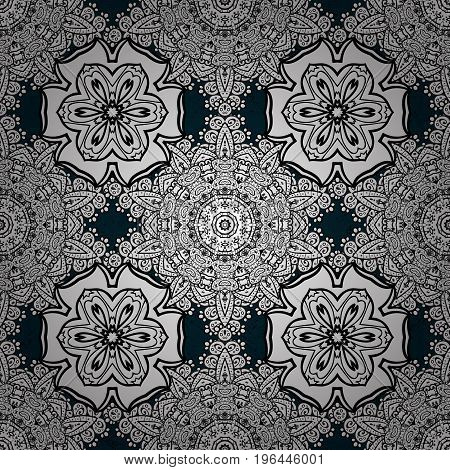 Blue pattern. Vector Hand drawn zentangle floral blue background. Seamless pattern ethnic mandalas doodle background circles.