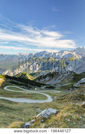 Winding Mountain Pathway In Bavarian Alps