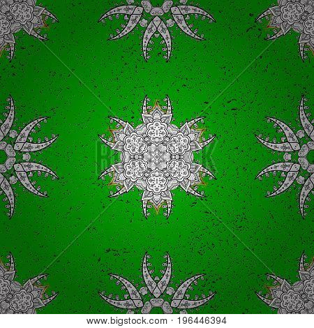 Floral ornament brocade textile pattern glass metal with floral pattern on green and white background with white elements. Classic vector white pattern.