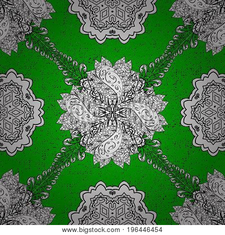 Vector oriental ornament. Traditional classic white pattern. Pattern on green and white background with white elements. Oriental ornament in the style of baroque.