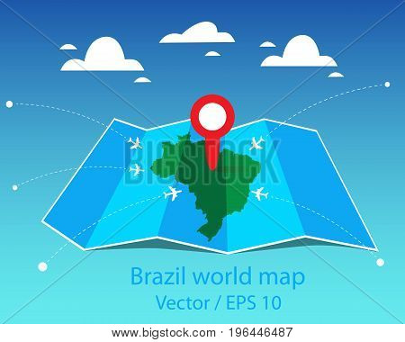 Vector y foto brazil world map folded paper map bigstock brazil world map folded paper map vector illustration gumiabroncs Choice Image