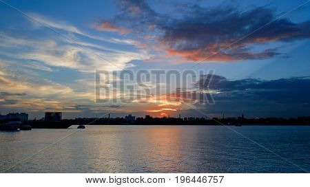 View from Babu ghat , kolkata at the time of Sunset.