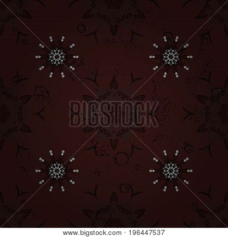 Vector oriental ornament. Traditional classic white pattern. Pattern on brown and white background with white elements. Oriental ornament in the style of baroque.