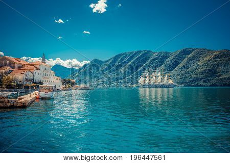 Sailfish And Harbor At Sunny Day In Boka Kotor Bay (boka Kotorska), Montenegro, South Europe.