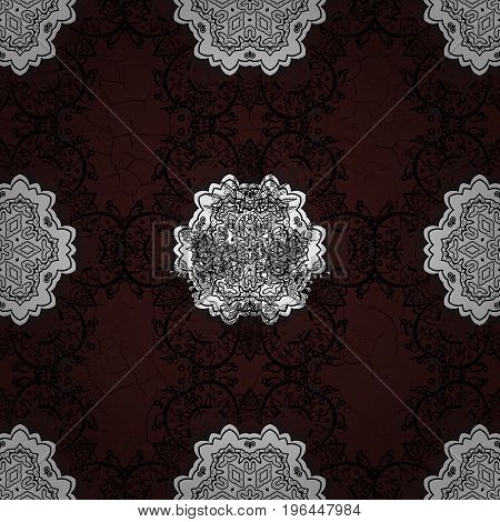 Pattern on brown and white background with white elements. Vector illustration. Classic vector white pattern. Traditional orient ornament. Classic vintage background.