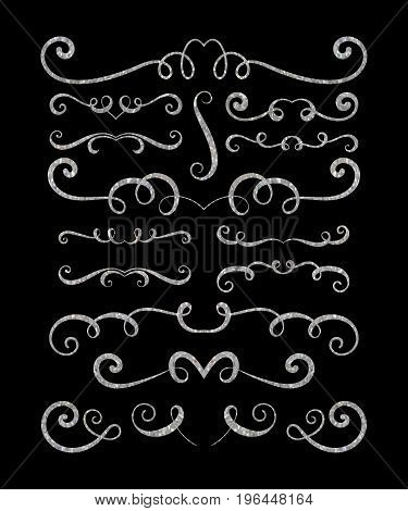 Set of silver textured hand drawn vignettes on black background. Elegant vintage calligraphic borders and dividers for greeting card, retro party, wedding invitation. Vector illustration.