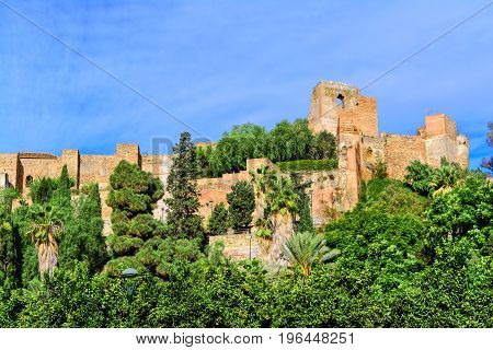 Walls of Alcazaba  fortress in Malaga built in 11th century, Andalusia, Spain