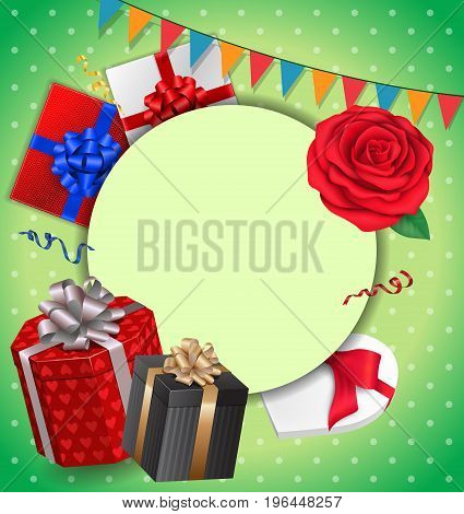 Blank greeting card with round frame, gifts and garlands. For greeting cards, posters, leaflets and brochures.