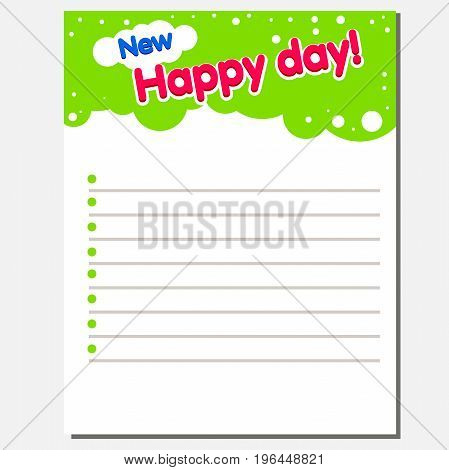 Notebook inside pages for baby notes. Vector illustration with the text New Happy Day