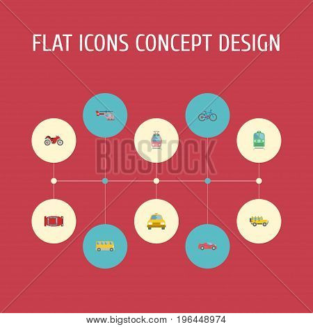 Flat Icons Chopper, Automotive, Omnibus And Other Vector Elements
