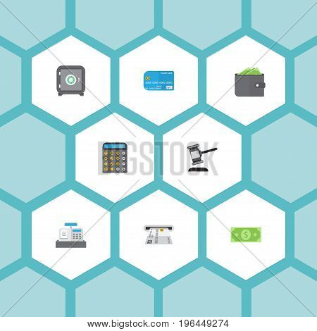 Flat Icons Strongbox, Payment, Money And Other Vector Elements